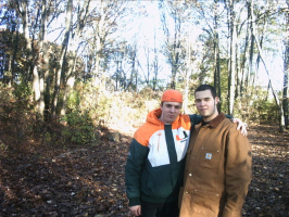dave and aj in the woods